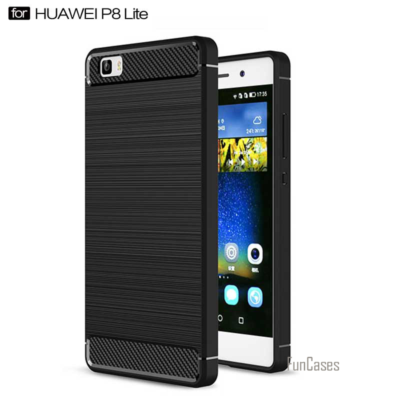 For Huawei P8 Lite Case 360 Protection Carbon Fiber Brushed Texture Soft Silicone Cases  ...