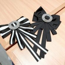 Korea Handmade Fabric Solid Striped Bowknot Rhinestone Shirt Pins Neck Bow Tie Accessories Fashion Jewelry-YHNLB036F