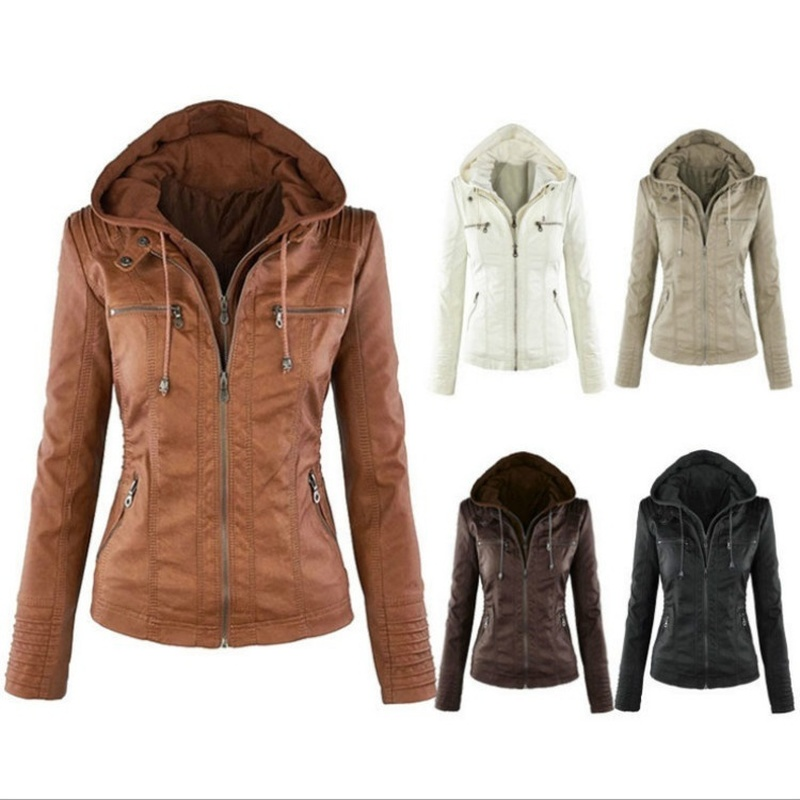 ZOGAA Women's PU Jackets Hooded New Stylish Convertible Collar liner Detachable Solid Casual Zipper Jacket Faux   Leather   Coats