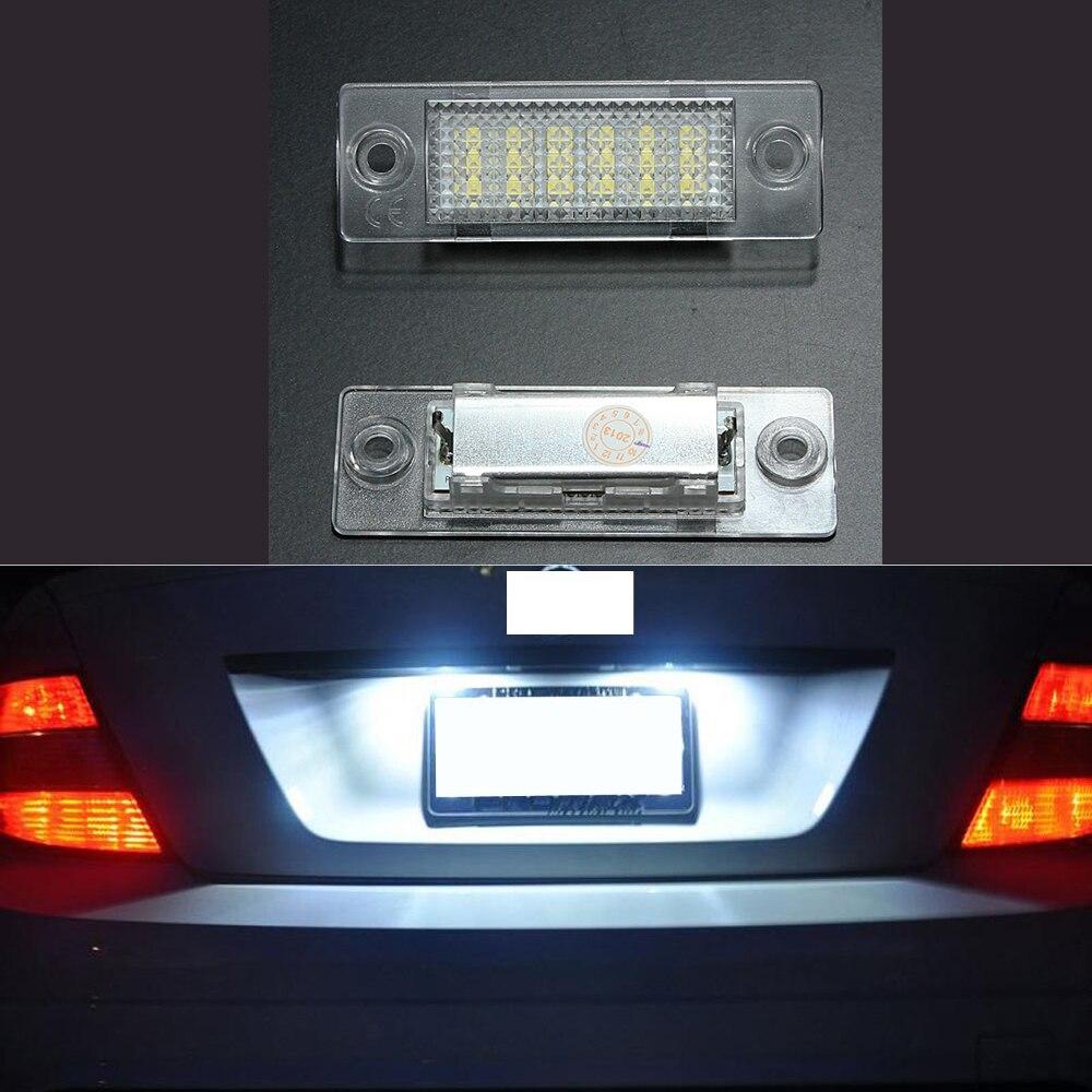 2Pcs Car LED License Plate Lights 12V SMD3528 White Number Plate Lamp Bulb 6000K For VW
