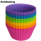 Wholesales Set of 12 Pieces (1 dozen) Round Shaped Silicon Cake Baking Molds Jelly Mold Silicon Cupcake Pan Muffin Cup
