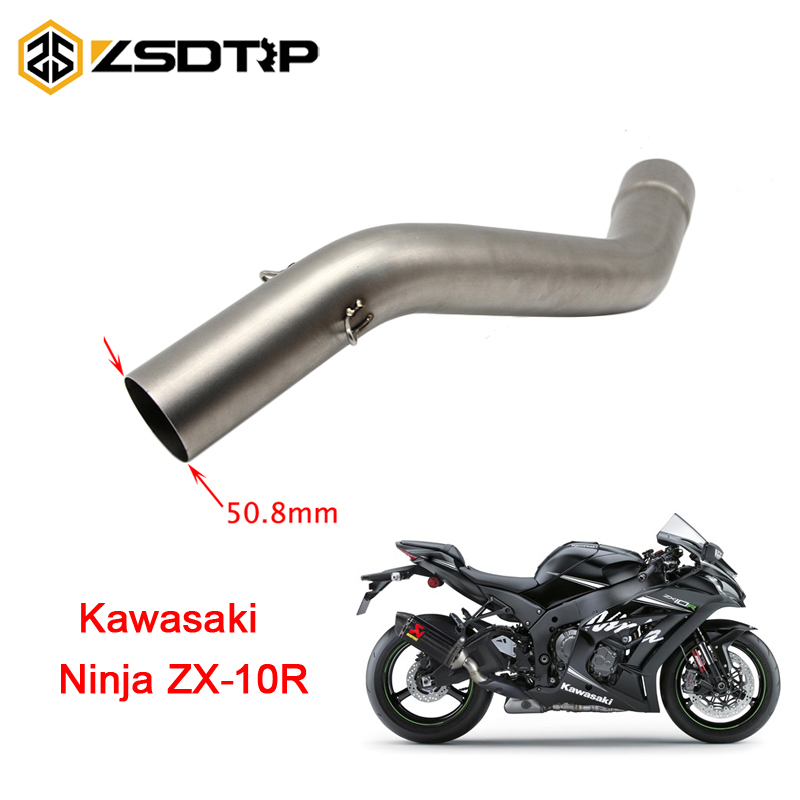 ZSDTRP Motorcycle Exhaust Middle Pipe for KAWASAKI ZX10R ZX-10R 2008-2010 Without Exhaust abs front fender mudguard for kawasaki ninja zx10r zx 10r zx 10r 2008 2010 2009