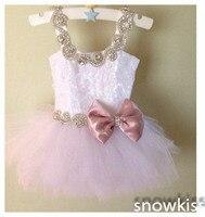 Lindo mini rosa cristales de encaje niñas arco vestidos de bola para la boda encantador de los cabritos con cuentas botón niño glitz del desfile del vestido