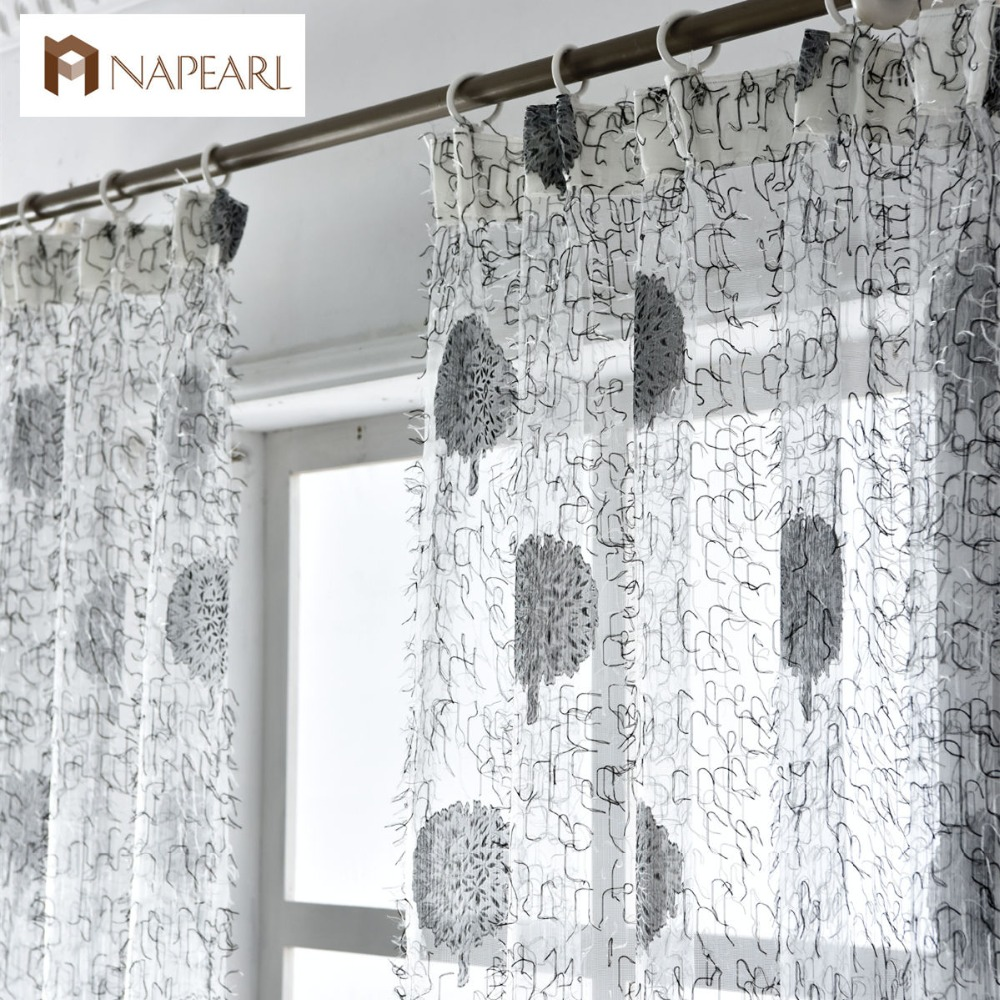 Floral Tulle Curtains Window Treatments White Sheer Fabrics Brown Purple  Jacquard Rustic Kitchen Door Curtains Balcony  Kitchen Door Curtains