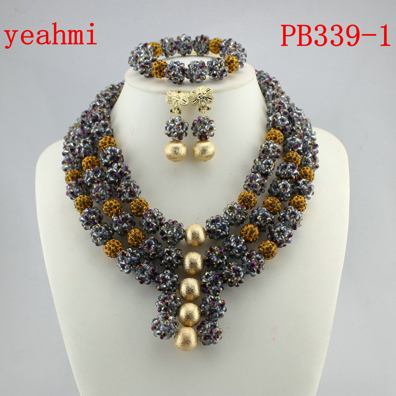 Fashion Nigerian Wedding African Beads Jewelry set Crystal Necklace Bracelet Earrings Jewelry Set PB339-1 fashion white crystal beads necklace earrings bracelet nigerian wedding beads african jewelry set for women ddk014