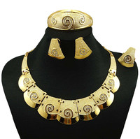 Indian Jewelry Dubai Gold Plated Jewelry Women Fashion Necklace Fine Jewelry Sets 24k Gold Jewelry Sets