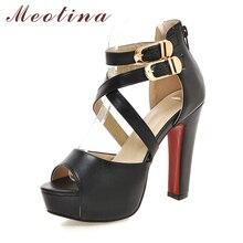 Meotina/Туфли женские сандалии-гладиаторы высокий каблук крест защищает высокий каблук открытый носок сексуальные Босоножки Белый Черный Размеры 9, 10