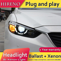 Hireno Headlamp For 2013 2015 Mazda 6 Mazda6 Headlight Assembly LED DRL Angel Lens Double Beam