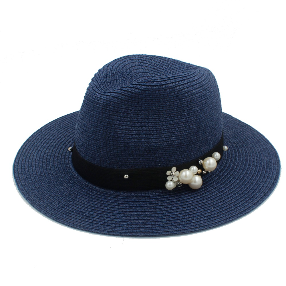 Women Summer Sun Hat Elegant Lady Wide Brim Pearl Flower Female Sunbonnet Floppy Beach Cap