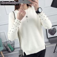2017 New Spring Korean Short All Match Winter Sweater Knitted Shirt With Long Sleeves And Loose