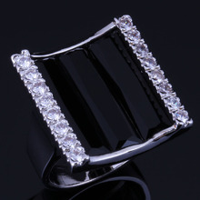 Dazzling Rectangle Black Cubic Zirconia White CZ 925 Sterling Silver Ring For Women V1064