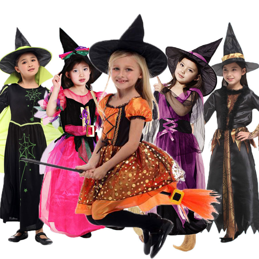 Umorden Halloween kostymer för barn Kids Witch Costume Fancy Fantasia Spädbarn Witch Cosplay för Girl Girls (ingen kvast)