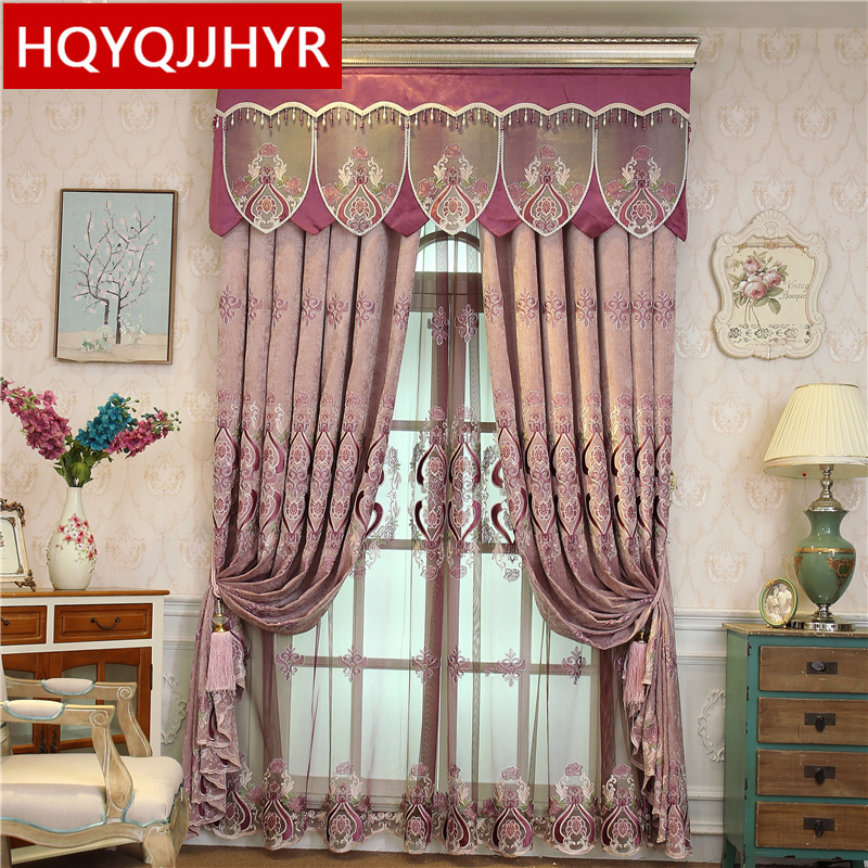 American High Quality Purple Chenille Flowers Blackout Curtains For The Living Room Classic Luxury Valance Curtain For Bedroom