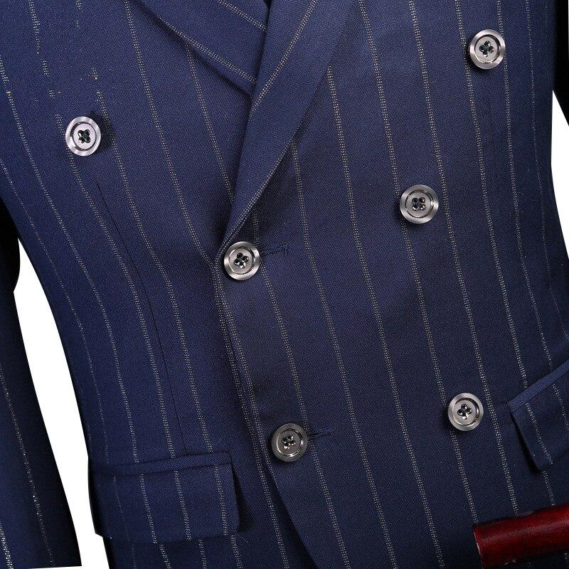 Aimenwant GiletSur Pièceveste Mesure Costumes Hommes 3 Bleu Gros Stripe Londres 2018 Chalk De Mince Manteaux En Costume Pantalon Pour 8nkNwP0ZOX