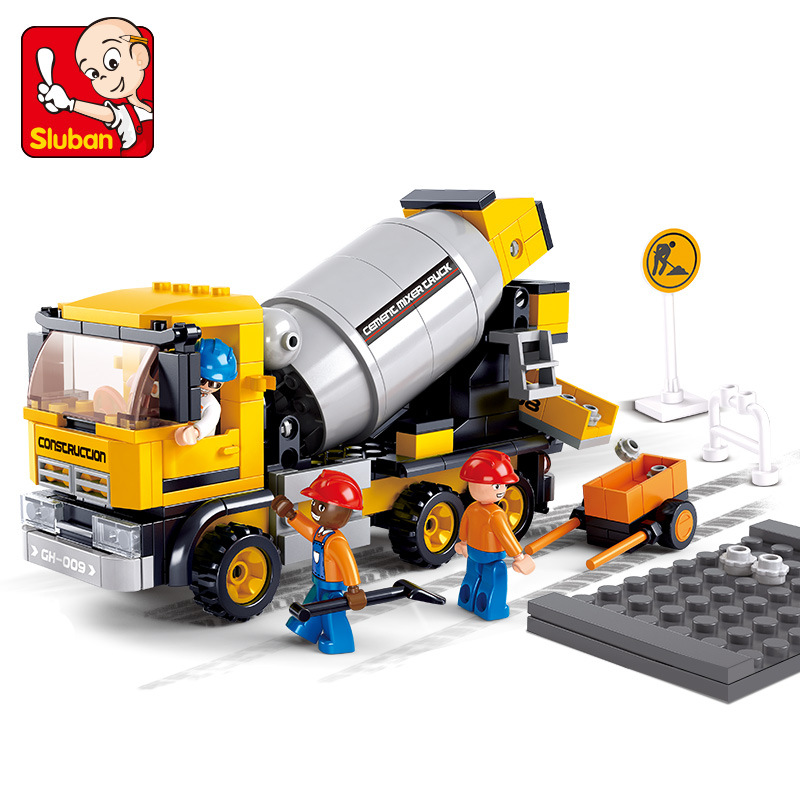 Sluban 296Pcs Legoings City Engineering Cement Mixer Car Truck Building Blocks DIY Toy Educational Building Toys For Children 196pcs building blocks urban engineering team excavator modeling design