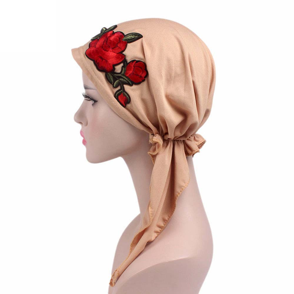 Fashion Rose Embroidery Cancer Chemo Hat Beanie Scarf Turban Head Wrap Cap Woman Summer Knitted Hat