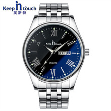 Relojes hombre Top brand Quartz Watch men Casual Keepintouch dial luminous double calendar male table Stainless Steel Watch