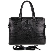 Crocodile pattern cowskin real Genuine leather men messenger bags black color briefcase alligator portfolio shoulder bag  #J7276