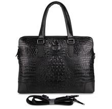 Crocodile pattern cowskin real Genuine leather men messenger bags black color briefcase alligator portfolio shoulder bag