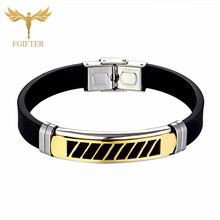 2019 New Fashion Wristband Black Punk Rubber Silicone Stainless Steel Men Bracelets Bangles pulseras hombre caucho