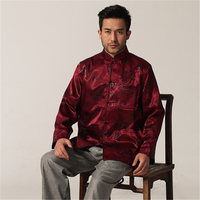 Vintage Burgundy Chinese Traditional Men Rayon Jacket Dragon Totem Coat Long Sleeve Button Overcoat M L