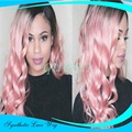 Newest Ombre Pink synthetic lace front wig ombre wig heat resistant for black Women Body Wave Long Mixed Color Fast Shipping