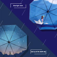 Look up at the star black plastic umbrella to block uv thickening