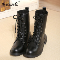 EISWELT Mid Calf Women Boots Female Leather Boots Lace Up Black Boots Platform Low Heels Women