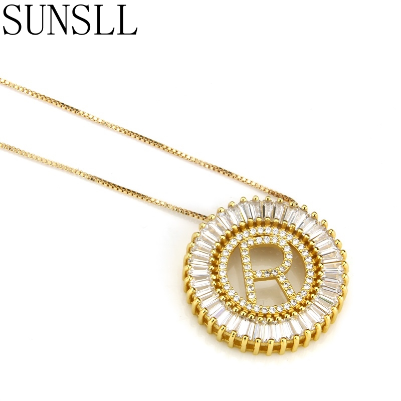 SUNSLL Gold/Black Color Copper White Cubic Zirconia A-Z 26 Letters Pendant Necklaces Women's Fashion Jewelry CZ Colar Feminina