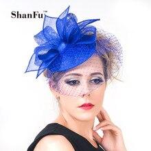 ShanFu New Women Vintage Pill Box Fascinators Hat Elegant Wedding Hat with Birdcage  Veil White Royal b8d7f6e6424e