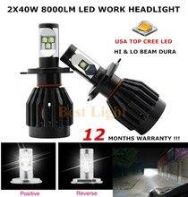 2×80 Вт 8000LM High Lumen H4 9003 HB2 ПРИВЕТ/LO Двухлучевой для Обломока CREE LED Автомобилей Противотуманные фары Фара Автомобиль Мотоцикл Лампы