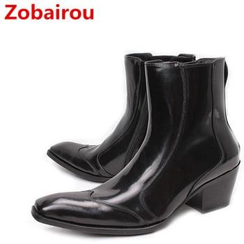Zobairou black combat boots for sale dress military boots steel toe work shoes men side zipe chelsea boots botas militares