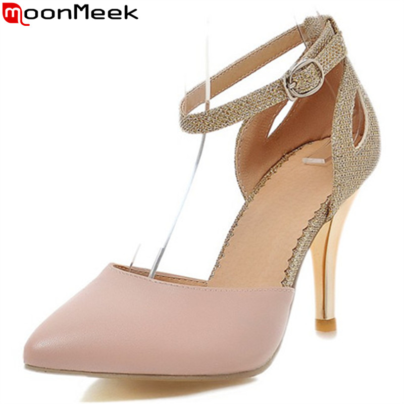 MoonMeek 2017 hot sale new arrive women pumps elegant Color mixing buckle high heels shoes pointed toe lady wedding shoes memunia flock pointed toe ladies summer high heels shoes fashion buckle color mixing women pumps elegant lady prom shoes