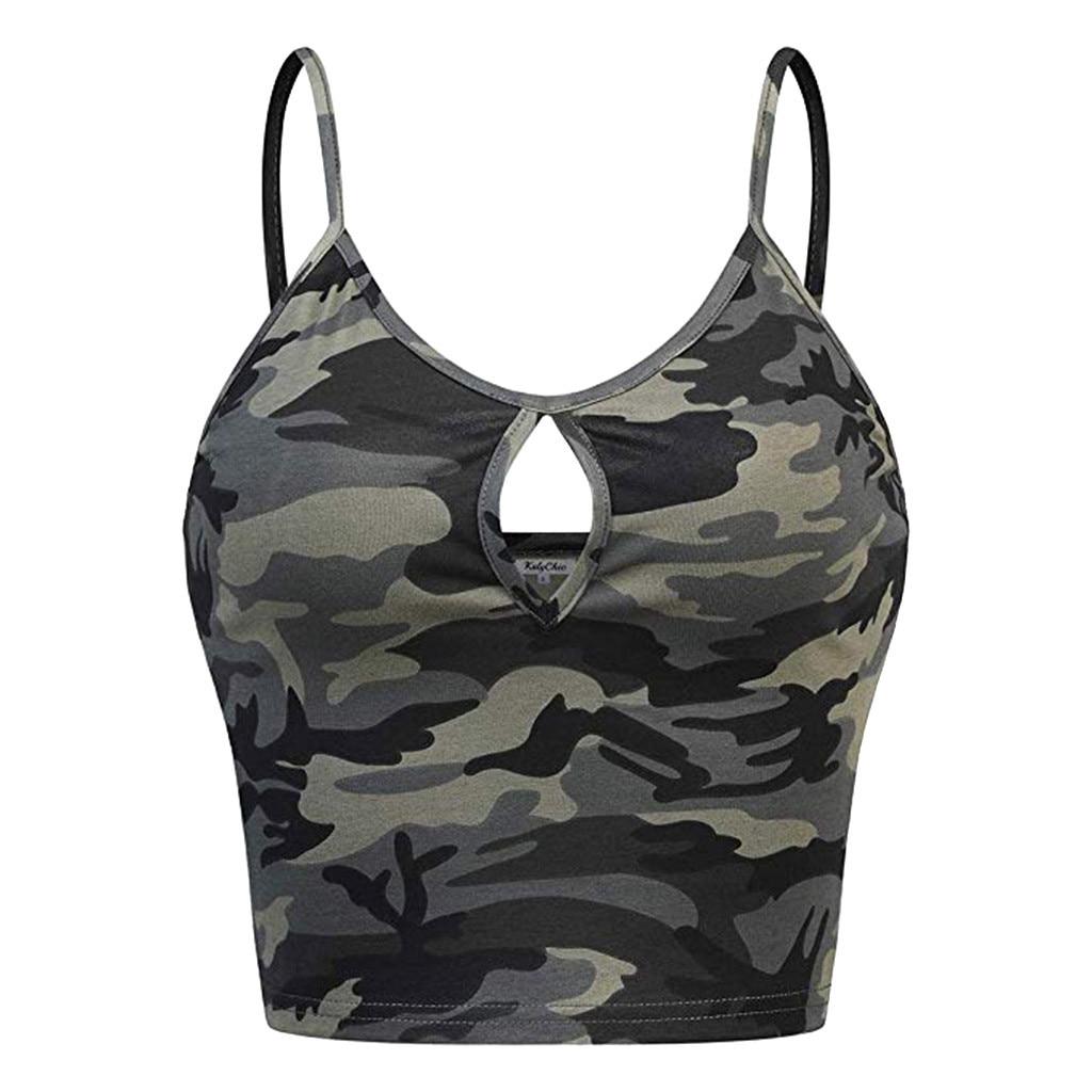 Zomer Crop Top Fashion 2019 Nieuwe Aankomst Vrouwen Mouwloze O-hals Casual Camouflage Print Vest Cami Tank Top Streetwear Top Femme