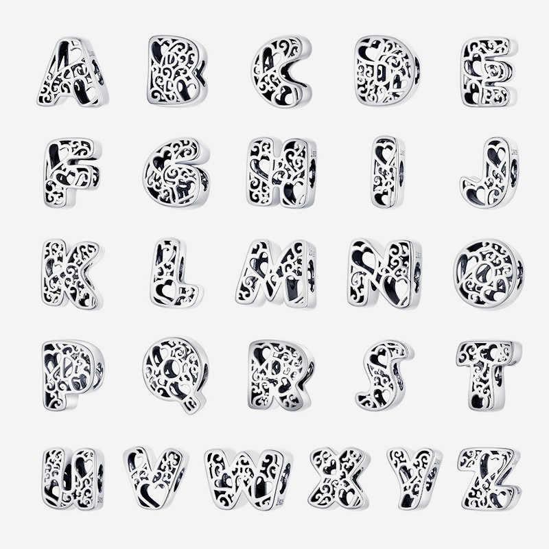 Fit avrupa bilezik orijinal 925 ayar gümüş yirmi altı büyük harf İngilizce harfler boncuk S295 kalp 26 mektup Charms diy