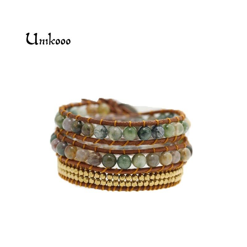 Triple piedra India en cuero Natural Strand pulseras para joyería hecha a mano joyería al por mayor para las pulseras tejidas