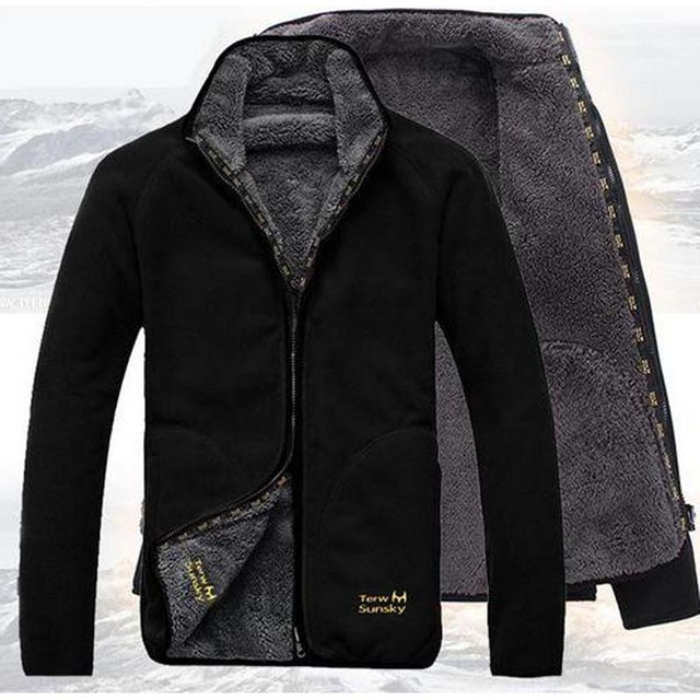 99f3df76a New Autumn Winter Coat Man reversible style Thicken with Plush Fleece  Jackets Leisure cardigan coat big yards Men Tops OUTERWEAR