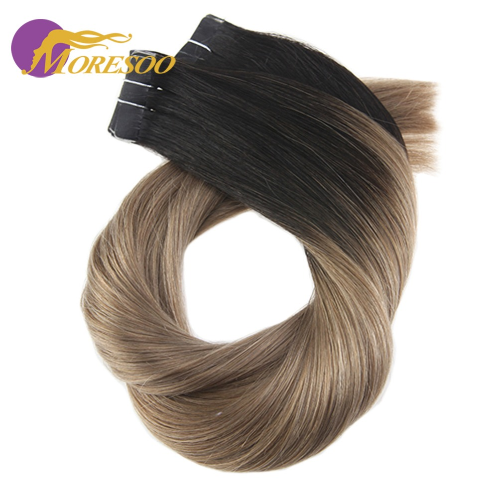 Moresoo 14-24 Inch Tape In Human Hair Extensions Ombre Blonde Color Real Remy Adhesive Hair Extensions 2.5g/pc 25g-100g