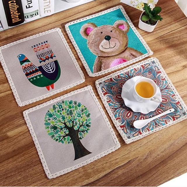 insulation pad kitchen table mat contracted pot creative european cloth cotton and linen cloth art pot - Kitchen Table Mats