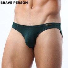 Mens Sexy Modal Underwear Brave Person Briefs Men Low Rise U convex Pouch Brief Underwear Men Stretch Breathable Briefs