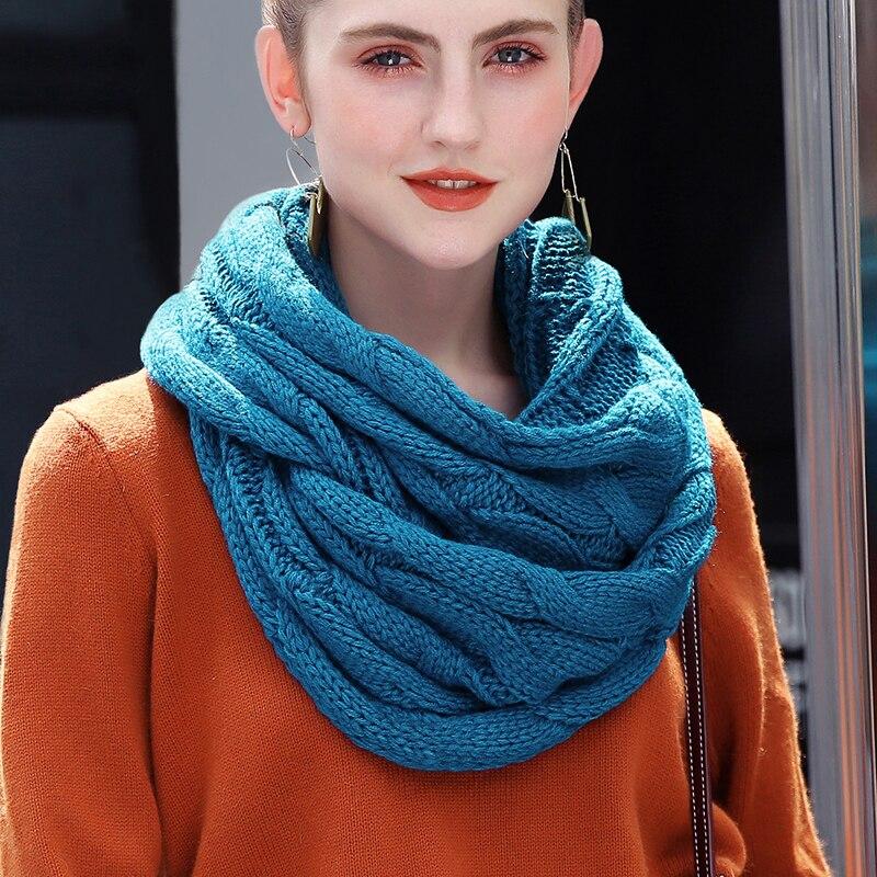 2018 bufanda tejida con Cable para mujer, bufandas suaves de invierno Infinity, bufanda de Cachemira, cuello circular, bufanda de marca de lujo, bufanda cálida para mujer
