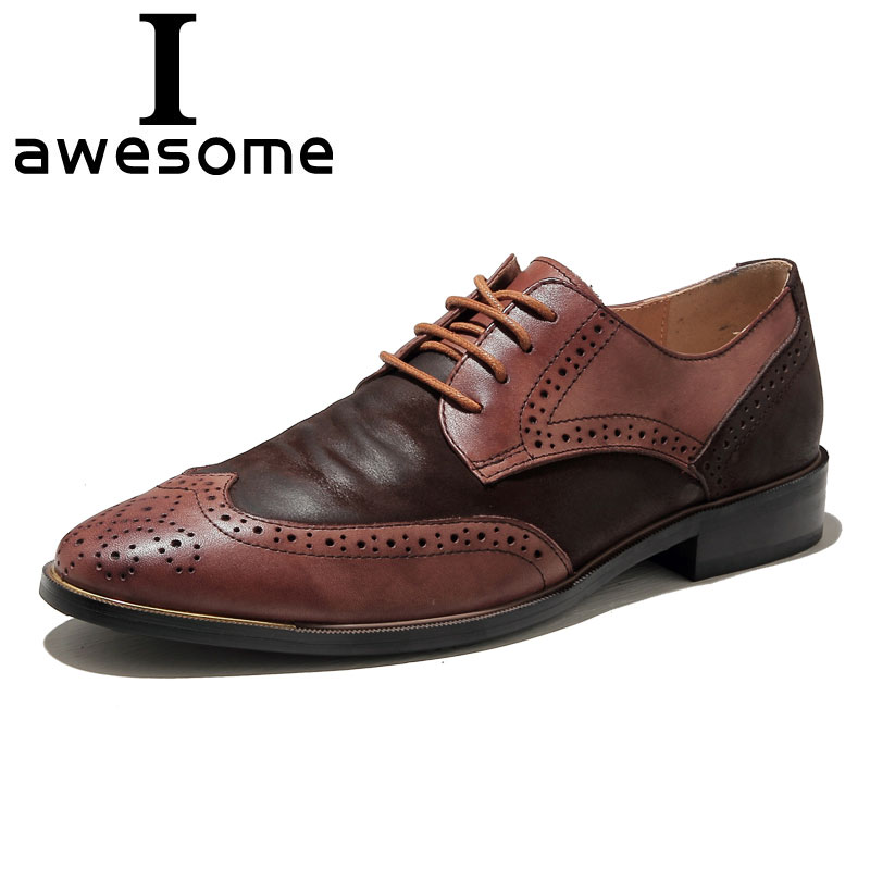 2018 Männer Kleid Schuhe Formale Hochzeit Echtem Leder Schuhe Retro Brogue Business Büro Männer Wohnungen Oxfords Für Männer