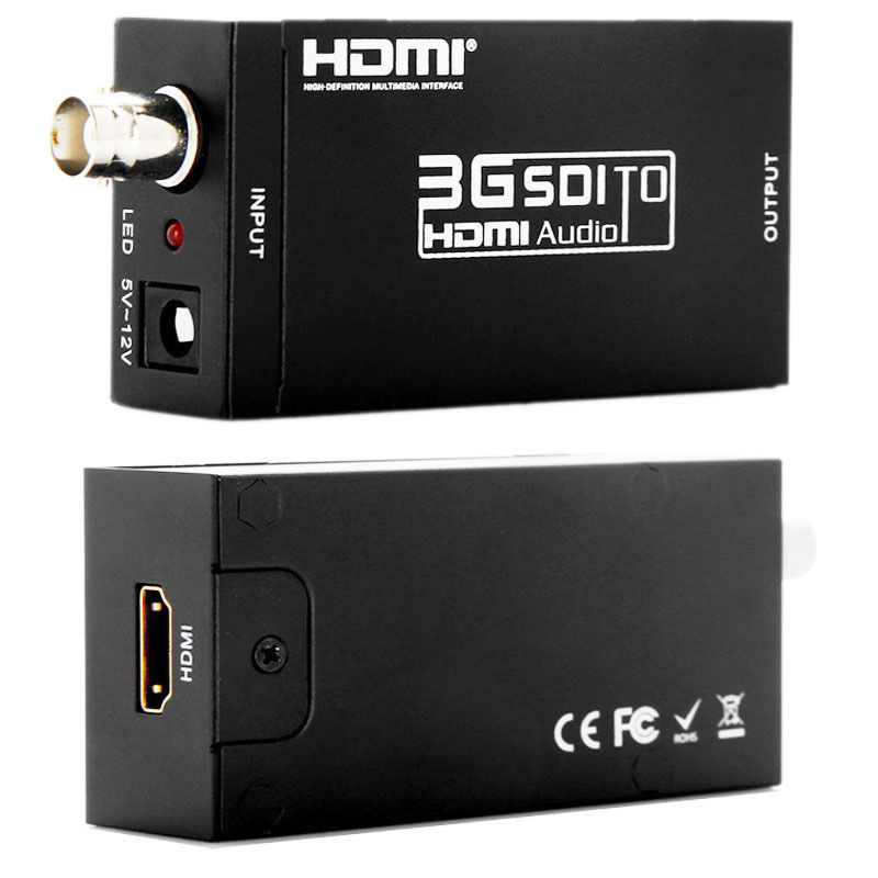 Kaycube MINI Extender BNC 3G SDI to HDMI Converter SD-SDI HD-SDI to HDMI Adapter with Power Adapter US EU Plug Black Mini Size lkv364 sdi to bnc repeater 1080p 720p sd sdi hd sdi 3g sdi distribute to 2 simultaneous sdi outputs sdi converter splitter