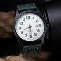 Marca Del Deporte Militar Relojes hombres Fecha Números Arábigos Dial de Cuero de Imitación Ocasional Del Deporte Del Ejército de Cuarzo Reloj de Pulsera
