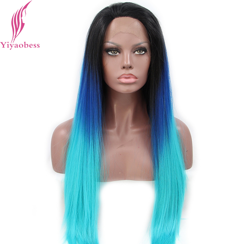 Yiyaobess Heat Resistant Glueless Synthetic Lace Front Wig Long Straight Black Blue Ombre Wigs For Women