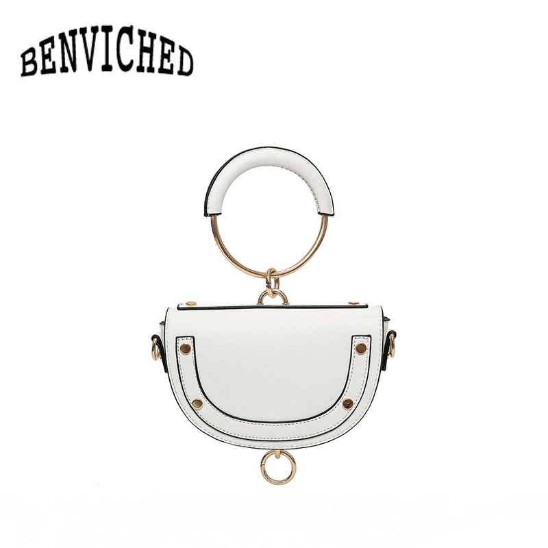 BENVICHED 2018 new European and American fashion saddle bag round handbag spring and summer shoulder Messenger bag R143