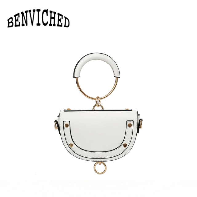BENVICHED 2019 new European and American fashion saddle bag round handbag spring and summer shoulder Messenger bag R143