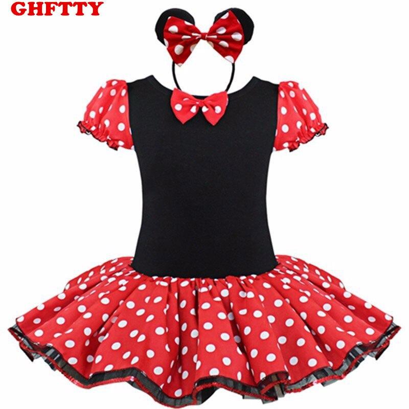 Vestidos para niñas Fiesta de disfraces de Minnie Mouse Cosplay Vestido de ballet para niñas Tutu + Orejeras para la oreja Chica lunares Ropa para niños