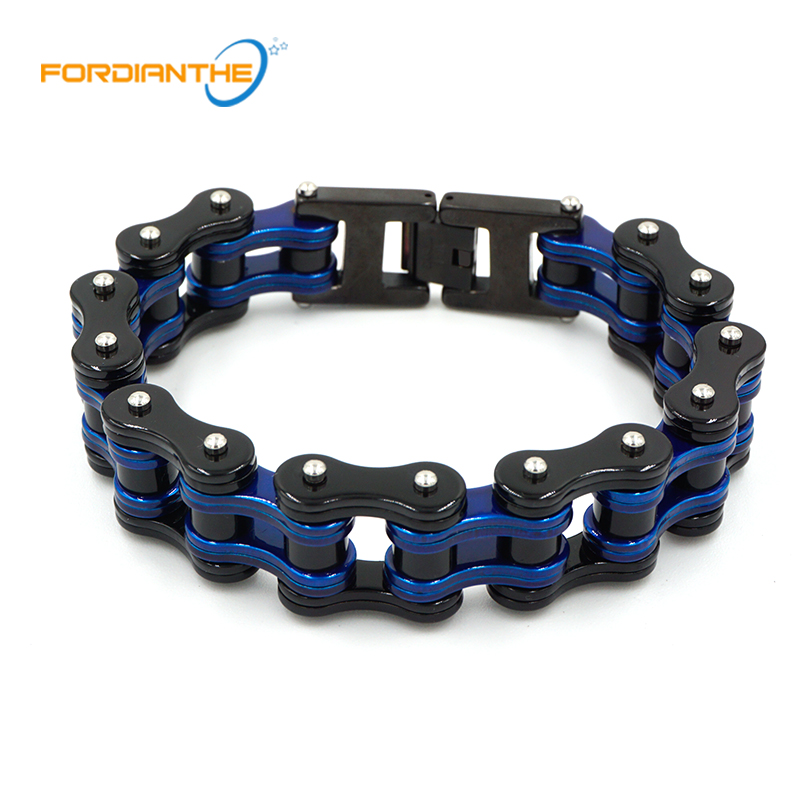 Charm Jewelry Blue Metal Motorcycle Chain Bracelet Men Biker Bicycle Black Stainless Steel 316L Men's Chain & Link Boy Bracelets 23mm width punk stainless steel bracelet men double biker bicycle motorcycle chain men s bracelets mens big bracelets