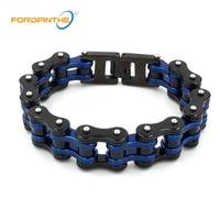 Charm Jewelry Blue Metal Motorcycle Chain Bracelet Men Biker Bicycle Black Stainless Steel 316L Men's Chain & Link Boy Bracelets